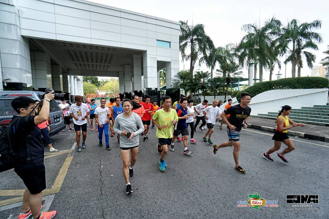 Image shows Sibu 2017 Tower Run's trial run on February 11. Photo Credit: Sibu Municipal Council and DNA sports.