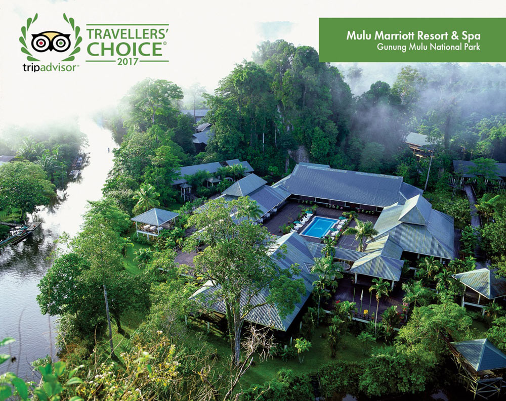 Image shows aerial view of Mulu Marriott Resort & Spa.