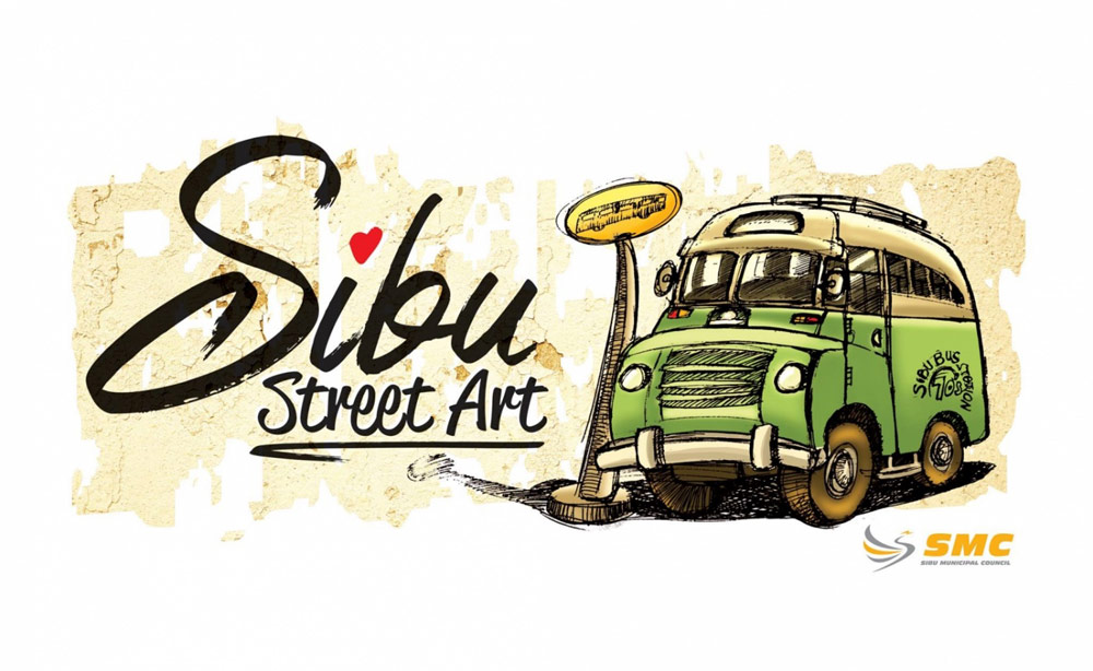 Mural of a caricature of the old Sibu buses.
