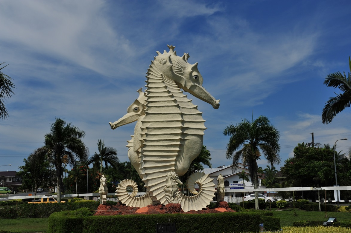 The city symbol, the seahorse proudly stands at the Miri-Airport road to welcome visitors to Miri City.
