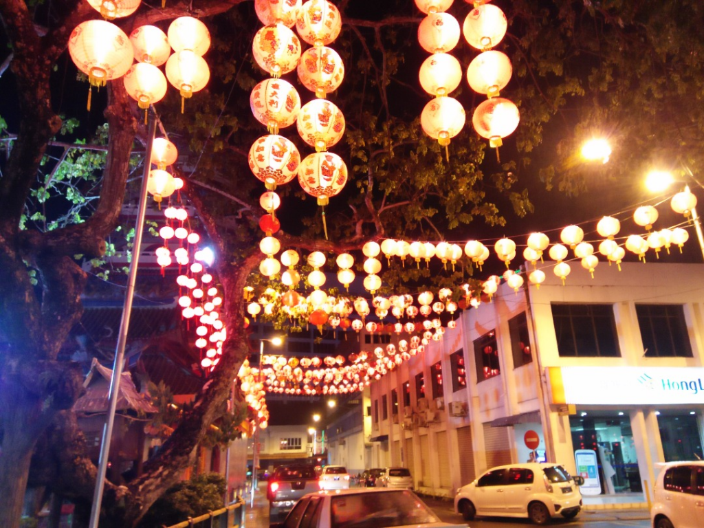 Sibu Town lit up with lanterns.