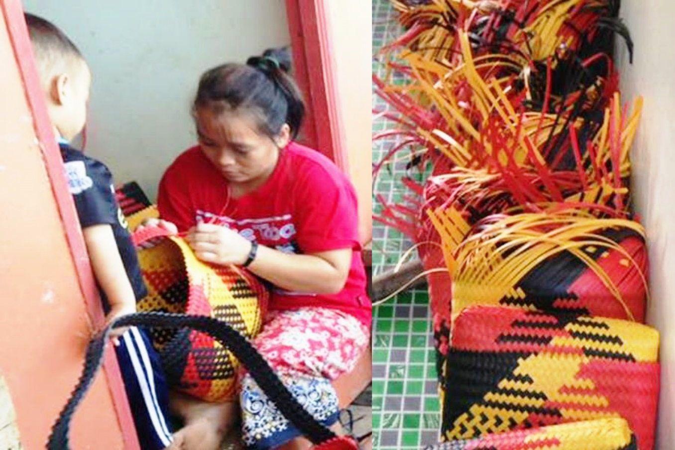 Photo shows penan woman weaving the bags for the conference.